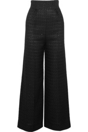 Sequined metallic jacquard wide-leg pants