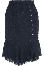 Sequined bouclé-tweed skirt