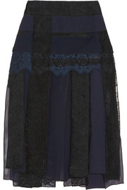 Paneled lace, cloqué, georgette and silk-organza skirt