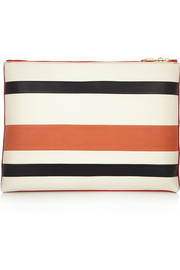 Striped leather clutch