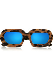 Eggy leopard-print acetate mirrored sunglasses