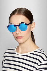Brow Beater round-frame metal mirrored sunglasses