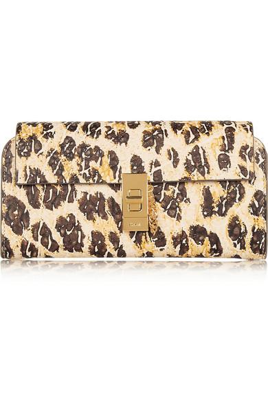 b6a6b53243 Chloé | Drew leopard-print textured-leather continental wallet | NET ...