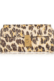 Chloé Drew leopard-print textured-leather continental wallet