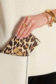 Drew leopard-print textured-leather continental wallet