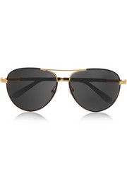 Aviator-style leather-trimmed sunglasses