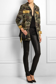 Leather-trimmed printed cotton-gabardine jacket