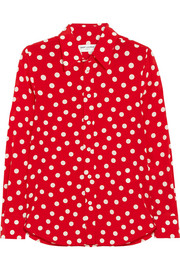 Polka-dot silk-crepe shirt