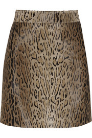 Animal-print calf hair mini skirt