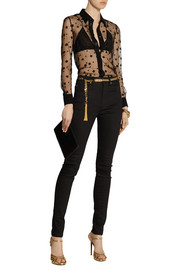 Saint Laurent Embroidered cotton-blend mesh and silk shirt
