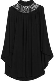 Cape-back embellished stretch-jersey mini dress