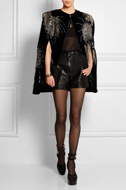 Embellished velvet cape