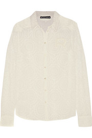Appliquéd lace shirt
