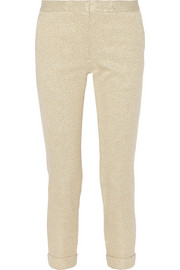 Cropped metallic stretch-brocade slim-leg pants