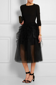 Ruffled tulle midi skirt