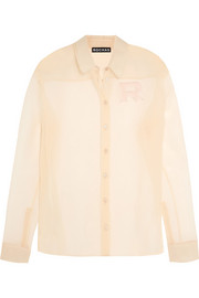 Appliquéd silk-organza shirt