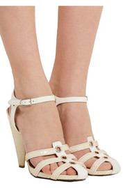 Elaphe and leather sandals