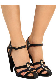 Embellished leather and suede sandals