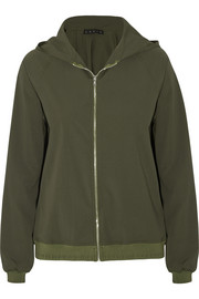 Stretch-crepe hooded jacket