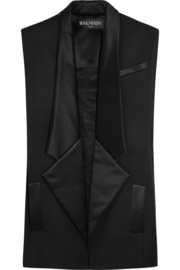 Silk-trimmed wool-gabardine sleeveless blazer