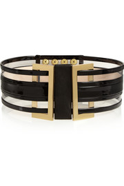 Patent-leather and PVC waist belt