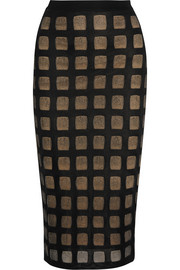 Open-knit pencil skirt