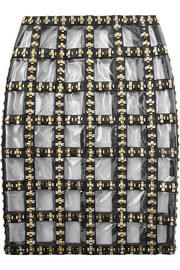 Embellished leather and PVC skirt