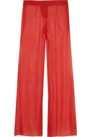 Silk-georgette wide-leg pants