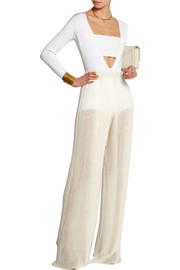 Plissé silk-georgette wide-leg pants