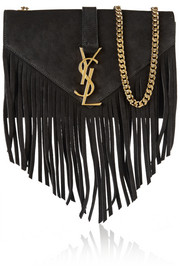 Monogramme fringed suede shoulder bag