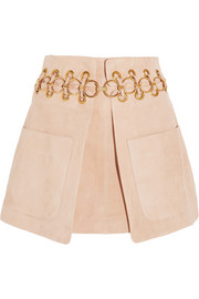 Embellished suede mini skirt