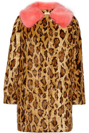 Shrimps Papa Puss printed faux fur coat