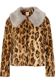 Cropped leopard-print faux fur jacket