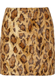 Shrimps Kitten leopard-print faux fur mini skirt