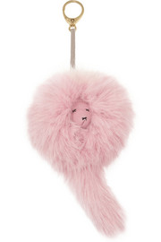 Shrimps Lenny faux fur and leather keychain