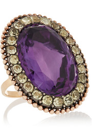 1840s 18-karat gold, amethyst and chrysoberyl ring