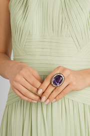 Olivia Collings 1840s 18-karat gold, amethyst and chrysoberyl ring
