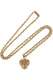 1820s 18-karat gold multi-stone heart locket necklace