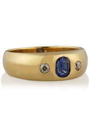 1870s 14-karat gold, sapphire and diamond ring