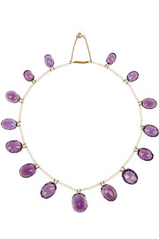 Olivia Collings 1900s 9-karat gold, amethyst and pearl necklace