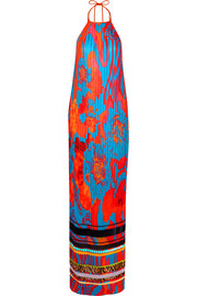Printed plissé silk-georgette gown