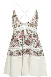 Python-trimmed embellished silk-georgette mini dress