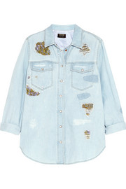 Jacquard-paneled distressed denim shirt