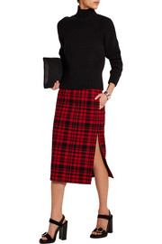 Plaid cotton and linen-blend skirt
