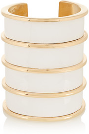 Balmain Gold-tone and glossed-leather cuff