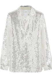 Sequined cotton shirt