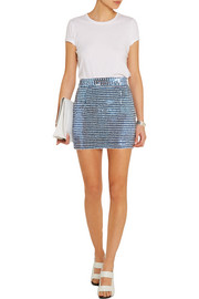 Sequined silk-georgette mini skirt