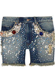 Embellished distressed denim shorts