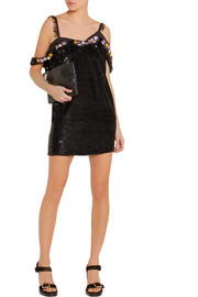 Embellished sequined silk-georgette mini dress