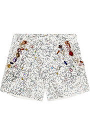 Embellished cotton shorts